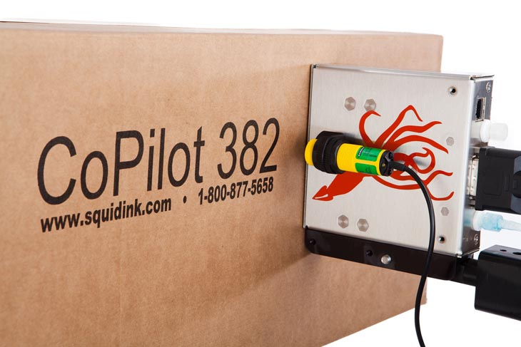 The Squid Ink CoPilot 382 hi-resolution industrial inkjet printer for coding and marking applications