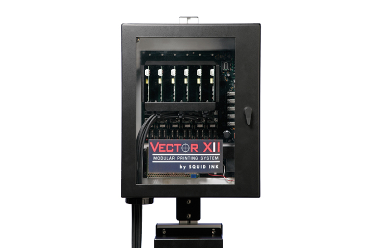 The Squid Ink Vector XII DOD drop-on-demand large character industrial inkjet printer modular systems allows for easy switching and upgrade of boards