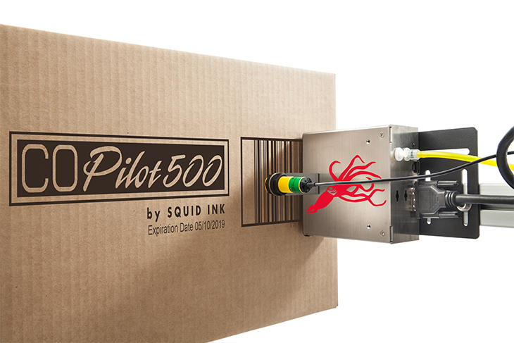 he Squid Ink CoPilot 500 hi-resolution industrial inkjet printer printing large hi-resolution characters