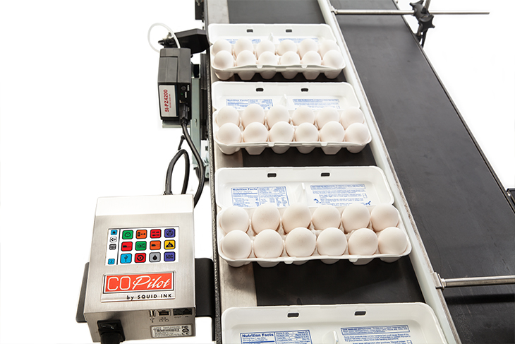 The Squid Ink CoPilot Flex hi-resolution industrial inkjet printer allows for parallel conveyor mounting to maximize available aisle space