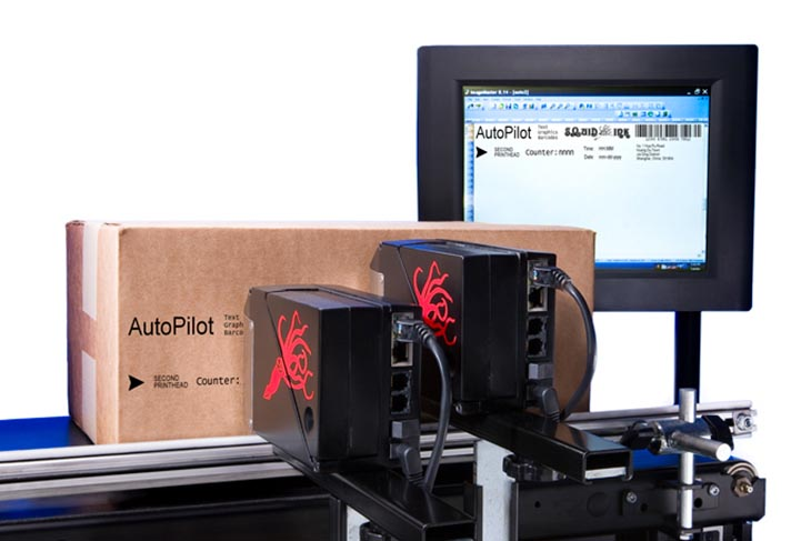 The Squid Ink AutoPilot hi-resolution industrial inkjet printer coding and marking with two printheads from one controller