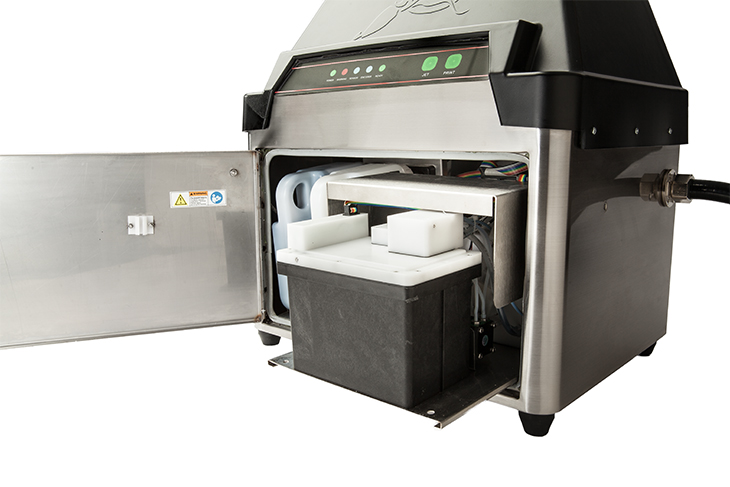 The Squid Ink Streamline 5 CIJ continuous inkjet printer small character coding and marking easy access inside for easy maintenance