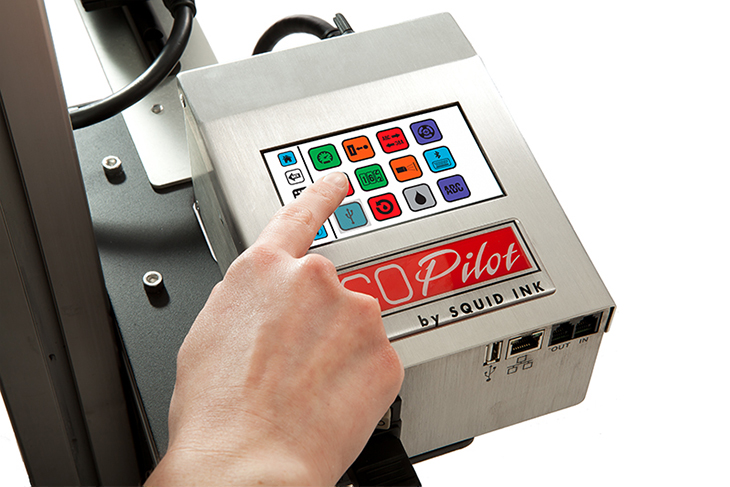 The Squid Ink CoPilot Max hi-resolution industrial inkjet printer touchscreen controller with easy message edit and message recall