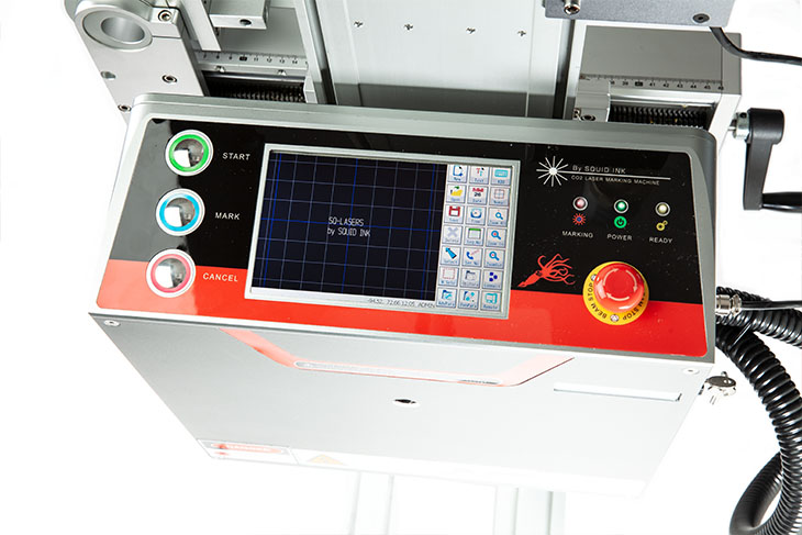 The Squid Ink SQ-30 laser coding system touchscreen