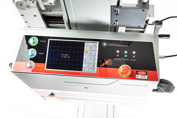 The Squid Ink SQ-50F Fiber laser coding system touchscreen