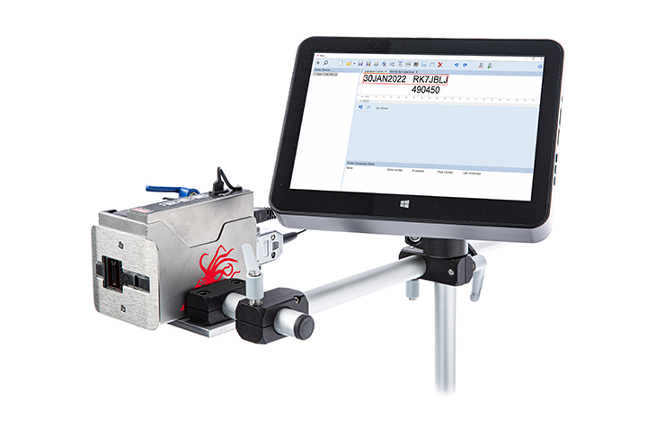 The Viper Thermal Inkjet Printer printhead and touchscreen