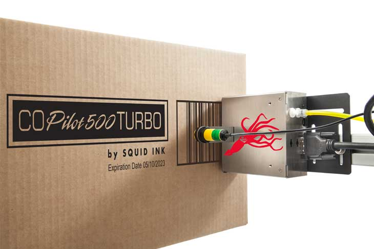 he Squid Ink CoPilot 500 Turbo hi-resolution industrial inkjet printer printing large hi-resolution characters