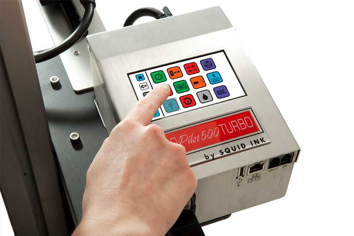 The Squid Ink CoPilot 500 Turbo hi-resolution industrial inkjet printer touchscreen controller with easy message edit and message recall