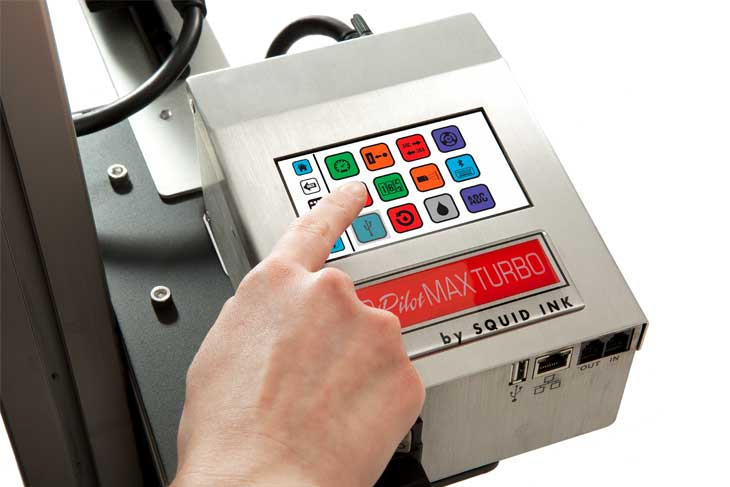 The Squid Ink CoPilot Max Turbo hi-resolution industrial inkjet printer touchscreen controller with easy message edit and message recall